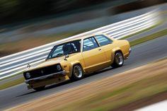 Datsun B310 Sunny Coupe on widen SSR Formula Meshies tear up Tsukuba..
