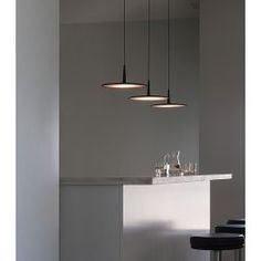 Vibia Skan 0275 Pendant Lamp - SKAN is a hanging lamp with a minimalist design. Interior Lighting, Home Lighting, Modern Lighting, Lighting Design, Bar Lighting, Deco Luminaire, Luminaire Design, Light Fittings, Light Fixtures