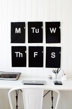 Chalkboard days of the week.