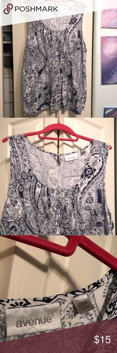 Blue and white blouse Avenue size 22/24.  Sleeveless blouse.  Gathered bust and flowy over your belly.  One button in back at neck. Very fun and comfy blouse. Avenue Tops Blouses