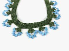Blue Flowers Oya Crochet Necklace Green Choker by Nakkashe