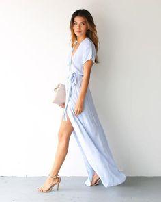Solid Bardot Wrap Dress - Powder Blue
