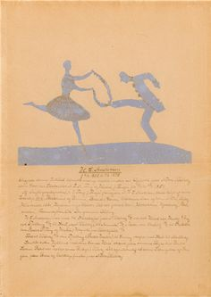 Dancing ballerina with a festoon - wtih which she is trying to catch a dancing Pjerrot's one foot. The ballerina's dress is drawn with a pen - and so are the buttons on Pierot's jacket. Hans Christian Andersen Drawings, Odense City Museums