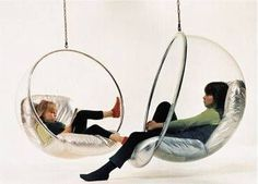 Often cited as the defining image of 1960s space age industrial design, the Bubble Chair--by Eero Aarnio--is credited with pioneering the use of plastics in modern furniture design