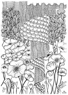 Zentangle by cathym 2 - Zentangle Coloring Pages for Adults - Just Color - Page 4 Free Adult Coloring, Adult Coloring Book Pages, Free Printable Coloring Pages, Coloring Pages For Kids, Coloring Books, Valentine Coloring Pages, Book Images, Zentangle Patterns, Colorful Flowers