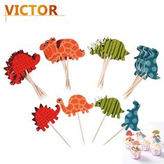 72pcs/set Cake Toppers Dinosaur Cartoon Cupcake Picks Toppers Food Toppers Fruit for Party Birthday Celebration Decorations