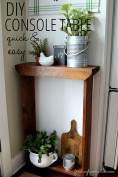 Quick and Easy DIY Console Table that can be customized to any size or space.  And can you see that original writing on the vintage wood?