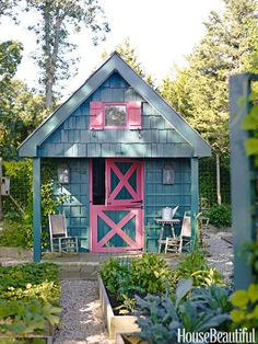 It's a practical storage spot and can be an eye-catching sight in your backyard. On the shed in Podge Bune's Hamptons cottage, Benjamin Moore's Garden Cucumber paint moves to the walls and Cactus Flower becomes the trim. Francesco Lagnese  - HouseBeautiful.com