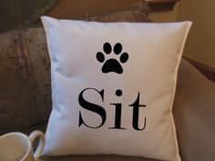 sit dog throw pillow decorative pillow funny throw by Twirlocity, $14.99