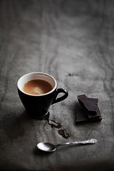 Perfect still life of coffee and chocolate