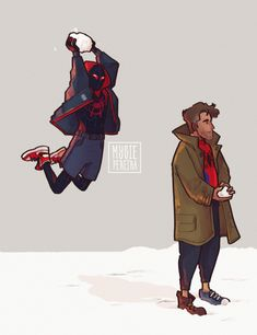 Snowball Fight - Spider-Man into the Spider-verse Mysie Pereira Miles Morales, Spider Verse, Marvel Funny, Marvel Memes, Character Drawing, Comic Character, Marvel Art, Marvel Avengers, Disney Pixar