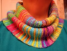 Beautiful and bright knit cowl will bust your yarn stash but good!