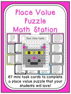 Place Value puzzle math station - perfect for keeping kids super engaged and quiet while practicing loads of place value during math stations!!