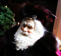 Father Christmas Doll: Large, Burgundy with Vintage Sable Fur ( One of a Kind Handmade Old World Santa Claus )
