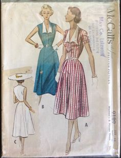Vintage McCalls Pattern #9189 Size 18 Bust 36, Mid Century dated 1952