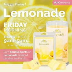 Sweet, tart and utterly irresistible! Savor every sip of this sugary Lemonade. Top notes of bergamot, grapefruit and zesty lemon with hints of orange peel lead into a full-bodied burst of fresh juicy fruit. Finished with a sweet musk, this is a unique, energizing fragrance that everyone will love! Www.jewelryincandles.com/store/christybrownrigg