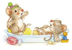Cute art for a kids room, laughing little rodents :)