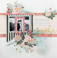 Wedding scrapbook Layout using Carta Bella Flower Market collection Wedding Scrapbook Pages, Scrapbook Journal, Scrapbook Albums, Scrapbook Cards, Cruise Scrapbook, School Scrapbook, Baby Scrapbook, Scrapbook Patterns, Scrapbook Layout Sketches