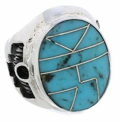 Genuine Sterling Silver And Turquoise Inlay Ring Size 5 TX38628