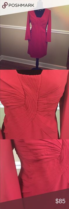 Valentino red dress Long sleeved dress with beautiful detailing. Fully lined. Valentino. Gently worn. Amazing condition. Valentino Dresses Long Sleeve