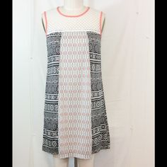 """Sweet Shift Crochet Yoke Size Medium Black, white and coral shift dress. Center back zipper, lining and coral trim. Excellent condition, length from shoulder to hem is 34"""". Xhilaration Dresses"""