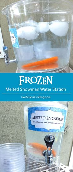 christmas party Disney Frozen Melted Snowman Water Station a fun and easy project for your Frozen Birthday Party. Some partys are worth melting for! us for more great Frozen Party Ideas. Frozen Themed Birthday Party, Disney Frozen Birthday, Disney Princess Party, 4th Birthday Parties, Birthday Ideas, 2nd Birthday, Disney Frozen Food, Disney Themed Party, Frozen Themed Food