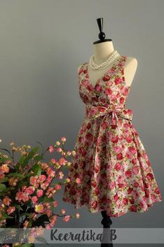 My Lady II - Red Green Floral Dress Spring Summer Sundress Red Green Party Dress Floral Floral Bridesmaid Dress Vintage Tea Dress XS-XL