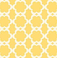 Yellow Pattern Cute Stencil Patterns Fabric Wall