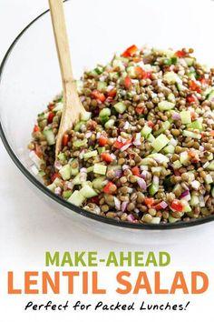 Whole Food Recipes, Diet Recipes, Vegetarian Recipes, Cooking Recipes, Healthy Recipes, Vegan Lentil Recipes, Bean Salad Recipes, Freezer Recipes, Vegan Soup