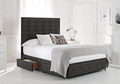 Mayfair Upholstered Divan Bed Base and Headboard. Super King, Slate, 4 x drawers - £1,099 (free delivery)