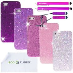 """Five *BLING* iPhone 4G/4S Glitter Cases (Purple, Light Purple, Hot Pink, Pink, Silver) / Two Long Stylus Pens (Hot Pink, Purple) / Two Short Stylus Pens (Hot Pink, Purple) / Two Screen Protectors - ECO-FUSED® Microfiber Cleaning Cloth 5.5x3.0"""" included - compatible with iPhone 4G and iPhone 4S by ECO-FUSED®, http://www.amazon.com/dp/B009VB5DOC/ref=cm_sw_r_pi_dp_Kbosrb0HY4YZ6"""