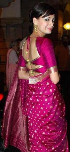 Diya Mirza Saree!, different blouse cut - http://www.shaadiekhas.com/