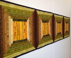 """Quilted wall hanging. Pieced table runner. September. Geometric. 12x48""""  Long hanging. Art quilt. Contemporary log cabin. Textile art."""