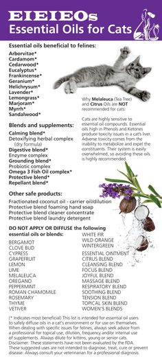 Essential oils safe to diffuse in a cat's environment. Please read disclaimer.