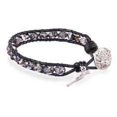 Beaded Wrap Bracelet with Lion Head Closure