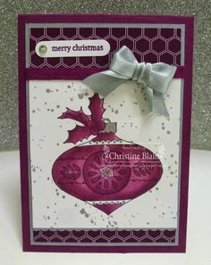 HAPPY HEART CARDS: STAMPIN' UP! CHRISTMAS BAUBLE IN RICH RAZZLEBERRY AND BLACKBERRY BLISS