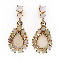 Vintage 14K Yellow Gold 2.50ct Opal Dangle Earrings