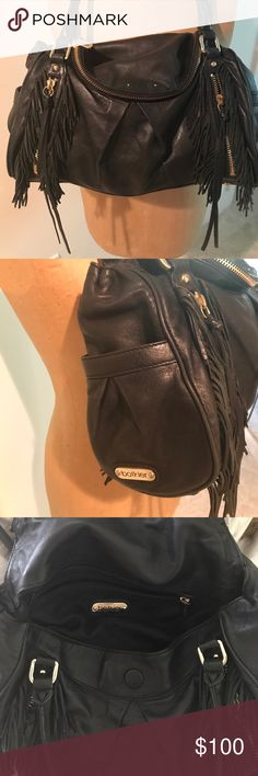 "Botkier black leather fringe ""morgan"" purse bag Previously loved. Great condition. Light weight, many compartments, and fits a ton of stuff! Very high quality! Botkier Bags Shoulder Bags"
