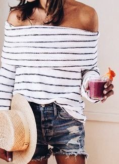 Cute striped off the shoulder top with denim shorts.