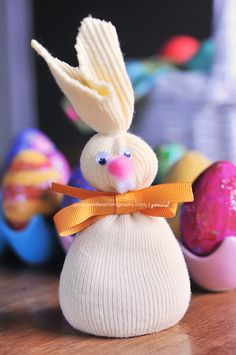 Easter Bunny made from a lone white sock.