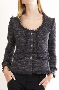 Rebecca Taylor Grey/Purple Tweed Jacket with three Rhinestone buttons