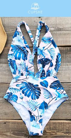 The blue leaves print brings an exotic look, the halter design makes you sexier,… - Bikinifigur Summer Bathing Suits, Cute Bathing Suits, Fashion Shopping Apps, Summer Outfits, Cute Outfits, Cute Swimsuits, Beachwear, Swimwear, One Piece Swimsuit
