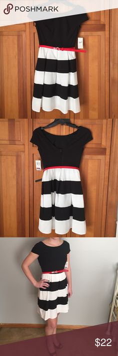 """Adorable Jr. dress size 0 by B. Darlin NWT Adorable dress new with tags. Great for the holidays. Runs a tiny bit small. Sweet and simple in its own or dress it up with heels and accessories. Comes with red belt. Measures 29"""" from shoulder to hem. Waist measures 26"""" B. Darlin Dresses Midi"""