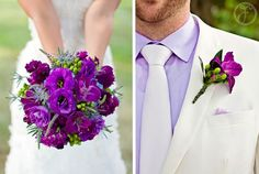 Purple wedding boquet and boutineer