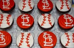 Cardinals baseball cupcakes - I am so making these for my nephew's birthday this weekend!