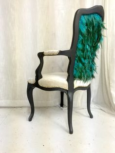 Turquoise Emerald French Armchair Upholstered in Velvet Painted in Black Matte by Heather Rudd THRONEupholstery