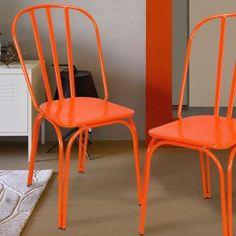Adeco Orange Metal Chair - CH0221-1 | adecotrading.com