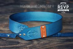 Custom Leather Camera Strap, Handmade personalized gift, Blue stain, Nautical, Anchor, hipster, hand stitched, Custom text, name initials