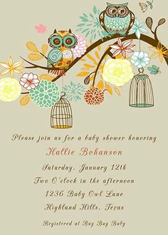 PRINTABLE Elegant Baby Owls with Flowers and Bird Cages Baby Shower gender neutral invitation