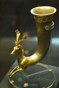 "Thracian, Golden Rhyton with Deer Head from ""Thrace and the Ancient World"" Exhibition at National History Museum, Sofia, Bulgaria, June 2011"